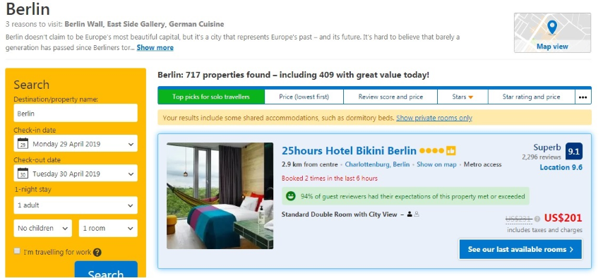 Booking is a good place to start your hotel price comparison