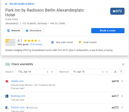 google metasearch - the best comparison hotel price tool online
