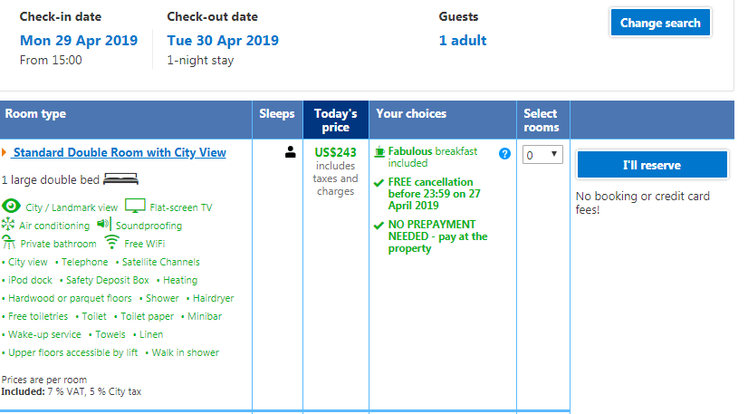 source: booking.com - always check the price and refund policy