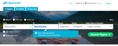 """Skyscanner review of the """"Everywhere"""" feature"""