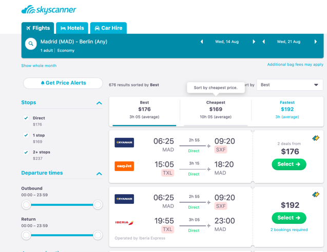 skyscanner review of traditional airlines and low-cost airlines