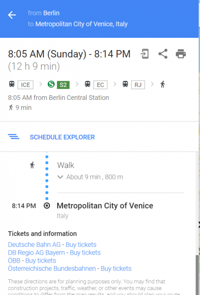 Google Maps, if you would like to book, Google directs to the booking engines of the companies where you need to start all over with your booking query